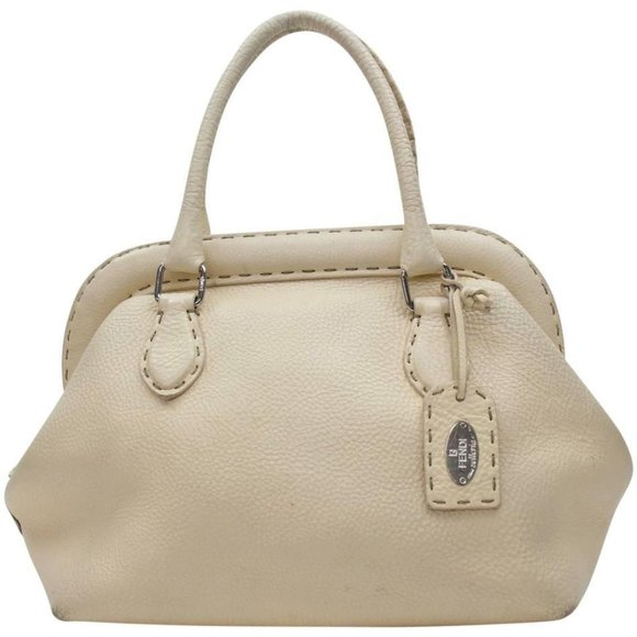 Fendi Handbags - Fendi Cream Leather Selleria Bowler 859819